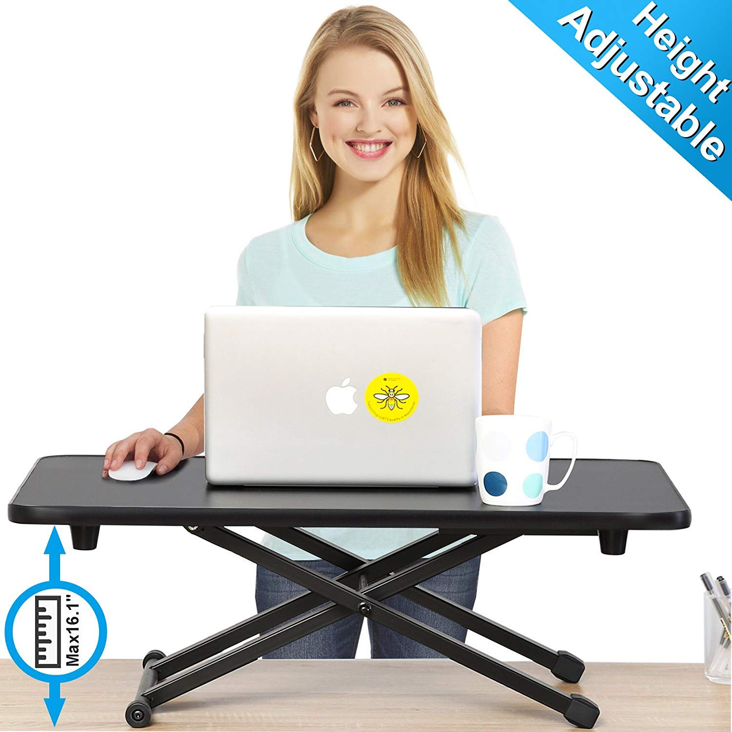 FITUEYES Height Adjustable Standing Desk Gas Spring Riser Desk Converter for Dual Monitor Sit to Stand in Seconds FSD108001MB by FITUEYES
