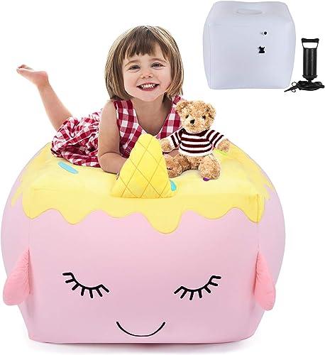 KIDZLIKE Stuffed Animal Storage Inflatable Kids Bean Bag Chair Unicorn Cake Toy 3