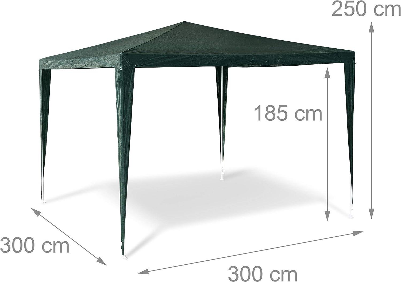 Relaxdays Carpa pabellón para Fiestas y Festivales Hecho de Tubos de Acero y de 110 g PE con Medidas 2,5 x 3 x 3 m en Color Verde, 3x3x2.5 cm