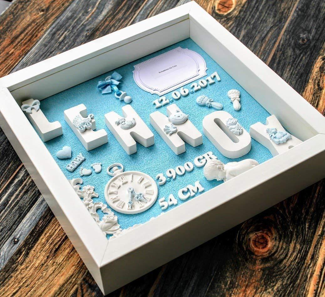 Geschenk für Baby Geburt Taufe Geburtstafel - 3D Bilderrahmen Personalisiert - Geschenkidee Neugeborene, Geburtsdaten, Geburtsbild, Namensschild - Junge