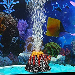 Panker Aquarium Volcano with Air Stone Bubbler, Realistic Fish Tank Volcano Ornaments Bubble Maker for More Oxygen Aquarium Decor, Great Addition to Fish Tank Beta Aquarium