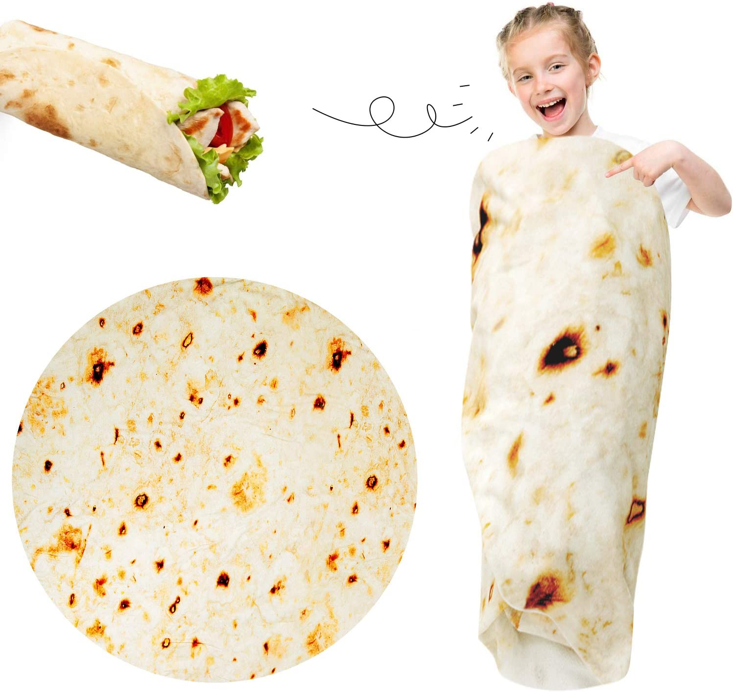 Burritos Blanket Kids 49 Inches Birthday Gifts Baby Tortilla Throw Blanket Wearable Funny Wrap Blanket, Giant Swaddle Blanket for Bed, Couch or Travel