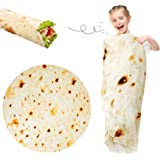 Lhedon Burritos Blanket for Baby and Pets,Comfortable Novelty Round Throw Blanket, Wearable Funny Flannel Blanket, Soft Tortilla Swaddle Blanket for Bed, Couch or Travel, Diam 49 Inch