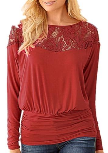 Aoliait Camisetas De Manga Larga Mujeres Cuello Redondo Costura Lace Slim T Shirt Blusas Camisas Swe...