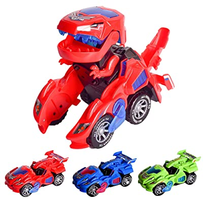 AINOLWAY Transforming Toys, Dinosaur Cars Combined Into One,Automatic Transformation, Transformation of Dinosaur LED Cars: Toys & Games
