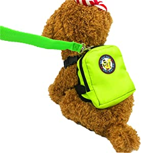 Guardians Pet Backpack Small Dog Self Mini Carrier Back Pack Pocket Saddle Bags Puppy Bag with Training Lead Leash