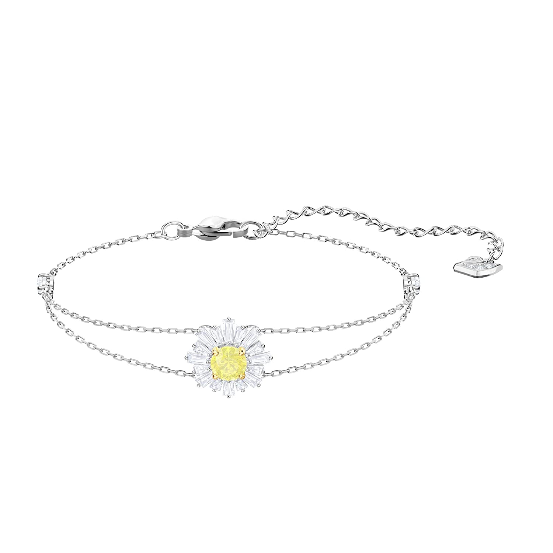 Swarovski Bracelet Sunshine, Blanc, métal rhodié
