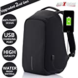 AllExtreme Anti Theft Waterproof Laptop Bag with USB Charging Port for 14 inch Laptop (Black)