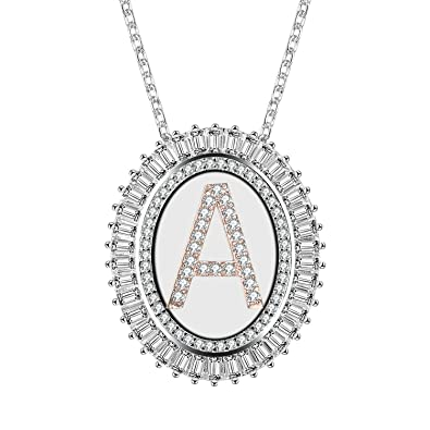 Suplight 18K Gold/Platinum Plated Cubic Zirconia Initial Letter Circle Pendant Necklace for Women REvkd78
