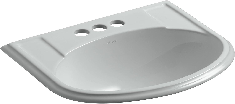 Kohler 2279-4-95 Ceramic Drop-In Rectangular Bathroom Sink, 24 x 20.63 x 9.75 inches, Ice Gray