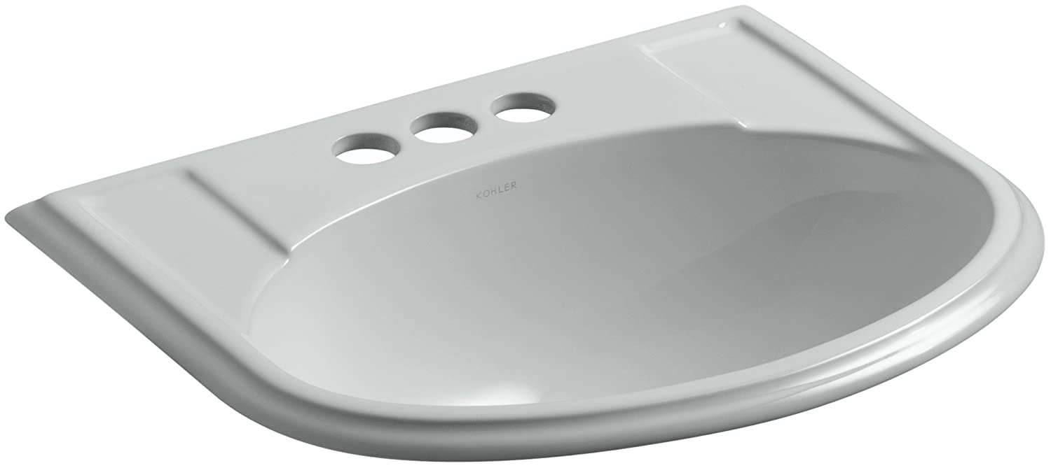 Kohler 2279-4-95 Ceramic Drop-In Rectangular Bathroom Sink, 24 x 20.63 x 9.75 inches, Ice Gray