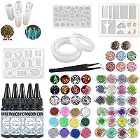 INNICON Crystal Clear UV Resina epoxi 5x30ml 14X Moldes de silicona con 48X Brillos Decoraciones Conjuntos Decoraciones de pigmentos Pinzas de lámpara Colgantes para colgantes Collares Pendientes