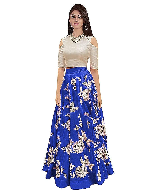 Soham Fabrics Women S Taffeta Silk Embroidered Lehenga Choli Blue