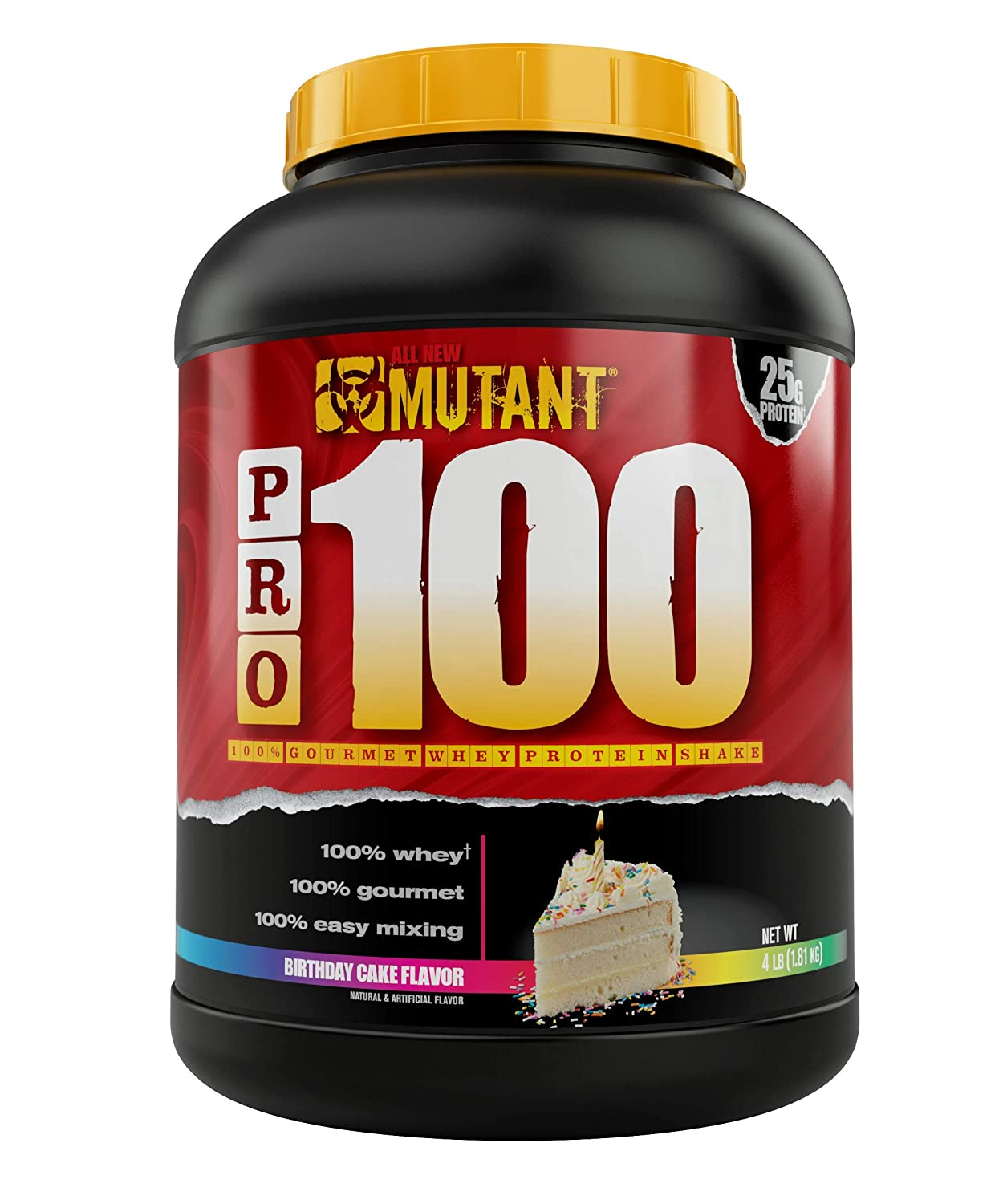 Mutant Pro a 100 Whey Protein Shake with No Hidden Ingredients, Comes in Delicious Gourmet Flavors, 4 lb – Birthday Cake