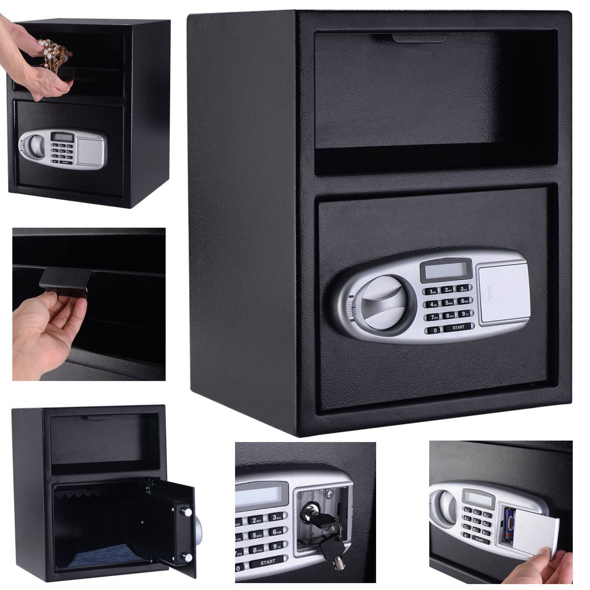 COLIBROX--Digital Safe Box Depository Drop Deposit Front Load Cash Vault Lock Home Jewelry,best gun safe,best gun safe 2017,compact gun safe,cheap gun safe,replacement lock for gun cabinet by COLIBROX (Image #6)