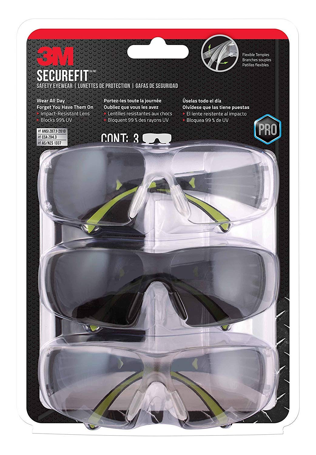 3M SF400-W-3PK-PS Secure-Fit 400 Anti-Fog Eye Protection Glasses, Multi-Pack (3 Pack) (2) by 3M Safety