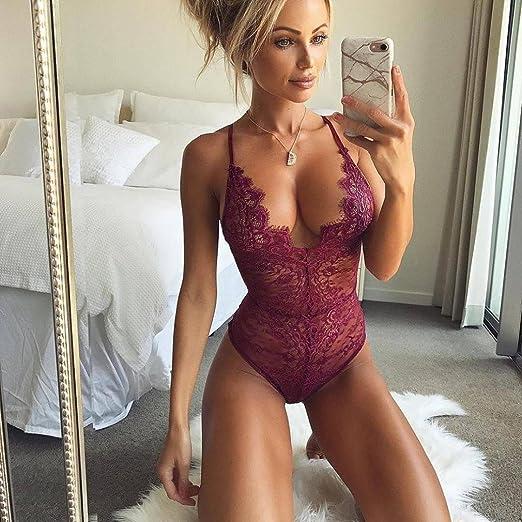 f418da52d3a Amazon.com: Wensltd Women's Sexy Lace Lingerie One Piece V Neck Bodysuit  Underwear: Health & Personal Care