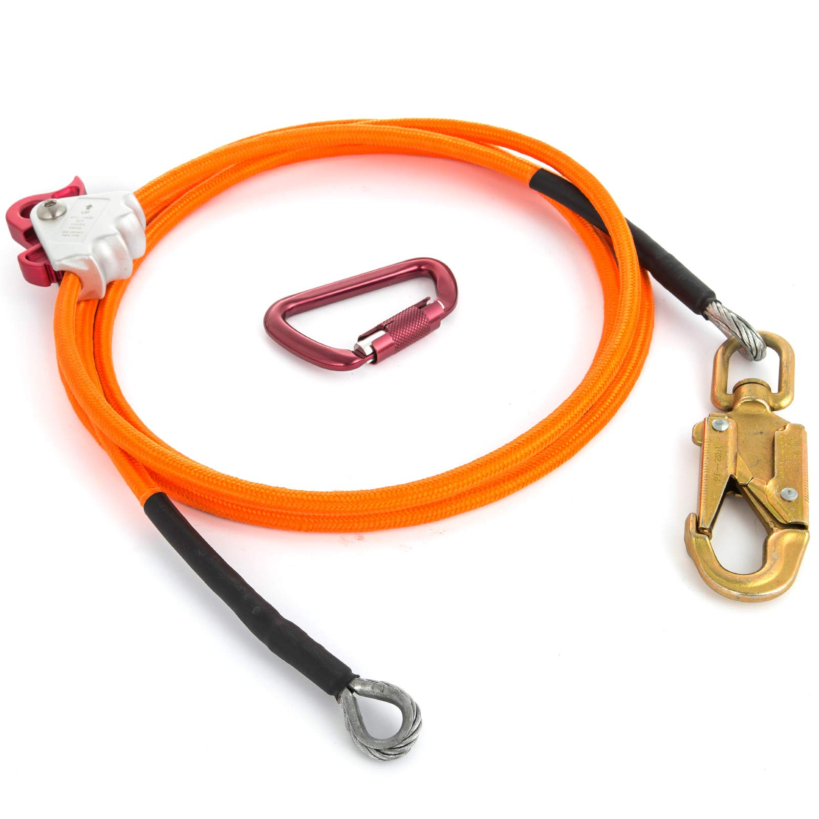 Happybuy Steel Wire Core Flip Line Kit 1/2'' X 8' Wire Core Flipline with Triple Lock Carabiner and Steel Swivel Snap Wire Core Flipline System for Arborists Climbers Tree Climbers (1/2'' X 8') by Happybuy (Image #4)