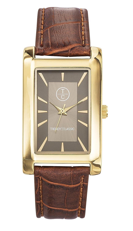 Trendy Classic - Reloj Analógico de Cuarzo para Hombre, correa de Cuero color Marrón