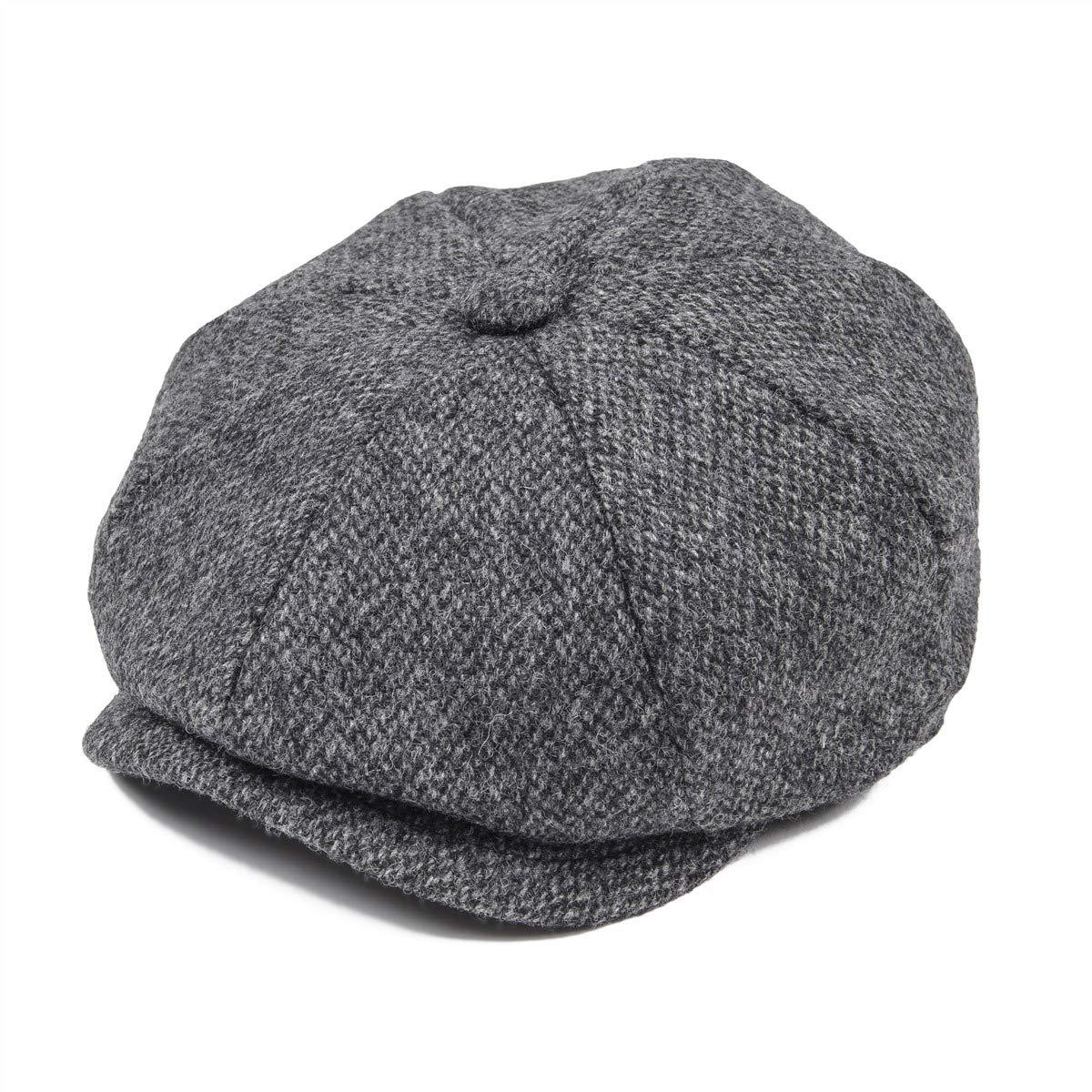 68719a092e5ab JANGOUL Mens 100% Wool Newsboy Cap Grey Series 8 Panel Tweed Cabbie Hat (S