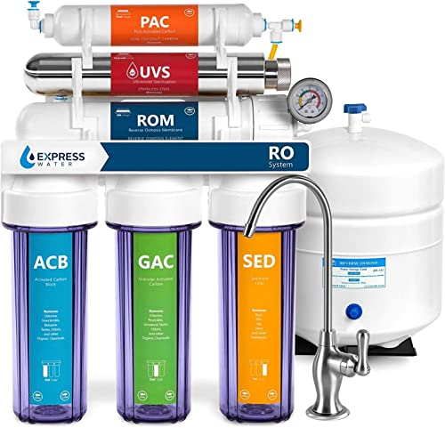Express Water Ultraviolet Reverse Osmosis Water Filtration System 6 Stage RO UV Water Sterilizer with Faucet and Tank UV Under Sink Water Filter 100 GPD with Clear Housing ROUV10DCG