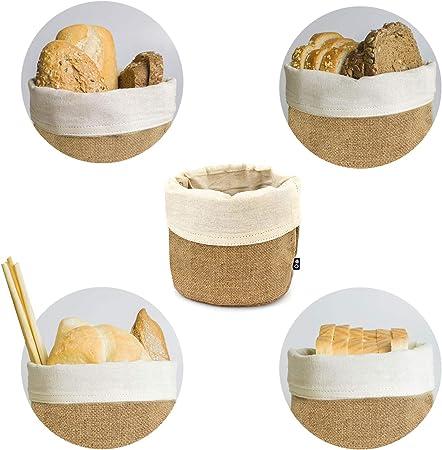 THE CHEF COLLECTION – Panera, cesta, bolsa para el pan, 100% algodón y yute natural, 14,0x14,0 cm.