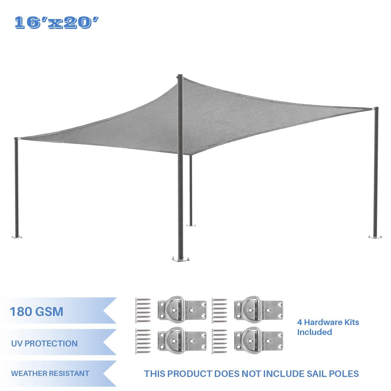 E&K Sunrise 16' x 20' Light Grey Sun Shade Sail Square Canopy - Included Pad Eyes -Permeable UV Block Fabric Durable Patio Outdoor