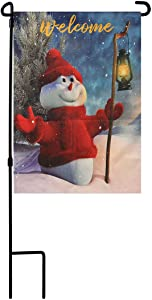 SOUMNS Garden Flag Holder Stand, Christmas Garden Flag 12x18 Double Side Snowman Design Xmas Winter Flag for Outside Yard House Lawn Decorations