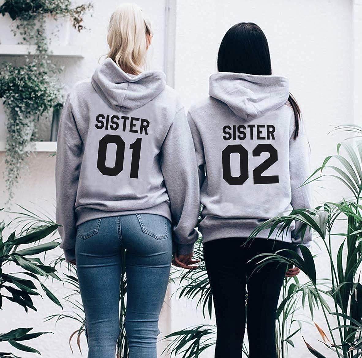 Kapuzenpullis f/ür Zwei Damen Beste Freunde Sweatshirts Partner Look Pullover mit Kapuze Freundin Hoodie BFF Winter Pulli Freundschaft 2 st/ücke