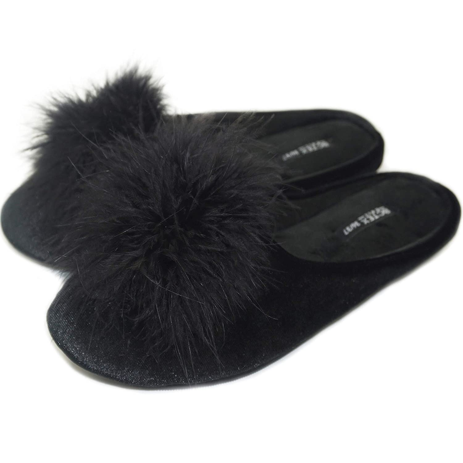 cfe1ee82956da BCTEX COLL Women's Cozy Velvet Slippers with Fluffy Pom Pom Feather Ladies  Memory Foam Flat Slide Sandals House Shoes with Non-Slip Rubber Sole