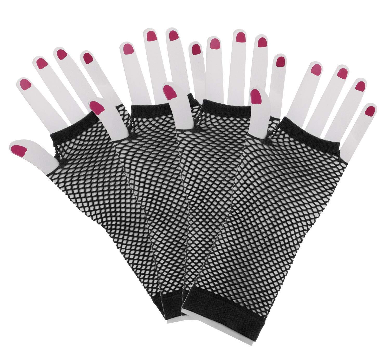 Penta Angel 2 Pairs Black Nylon Fingerless Fishnet Gloves Wrist Stretch Mesh Gloves for 80s Theme Party Women Girls Costume Accessories Short-Black