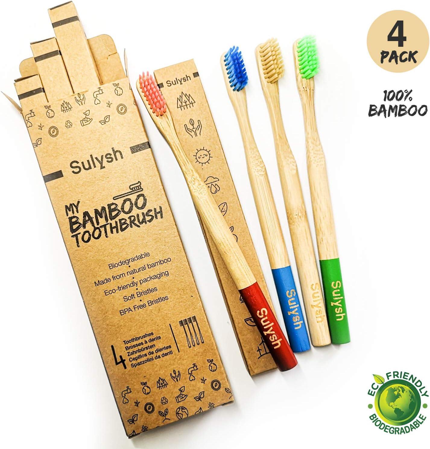 Paquete de 4 cepillos de dientes madera de bambú 100 ...