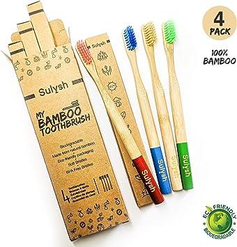 Paquete de 4 cepillos de dientes madera de bambú 100% biodegradable Compostable | Mango redondo, cerdas suaves y diferentes colores.: Amazon.es: Salud y cuidado personal