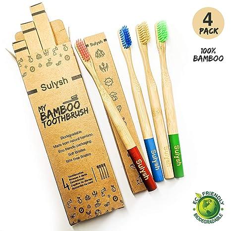 Paquete de 4 cepillos de dientes madera de bambú 100% biodegradable Compostable ♻ |