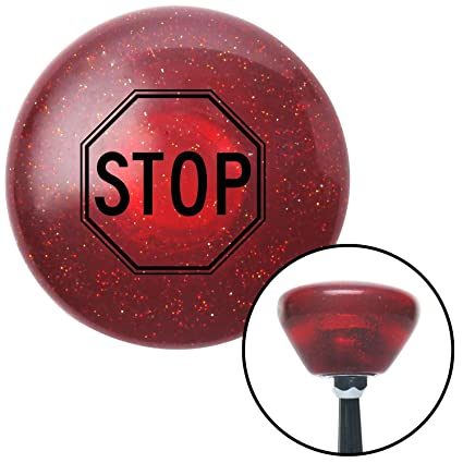 American Shifter 48783 Red Metal Flake Shift Knob with 16mm x 1.5 Insert Pink Dotted Directional Arrow Up