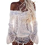 Hot sales!LTUI Elegant Sexy Women Off Shoulder Long Sleeve Lace Loose Blouse Tops T