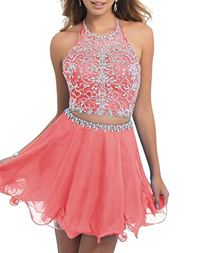 ALW Two Pieces Tulle Beaded Short Prom Homecoming Dress ALW137