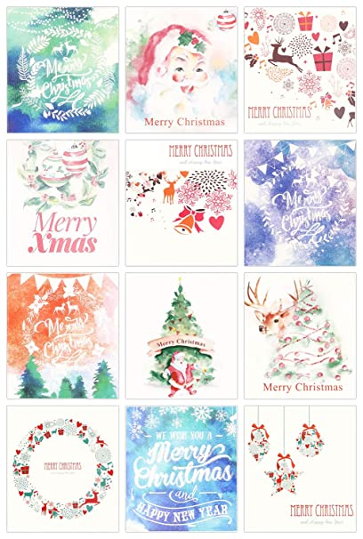 Watercolor Christmas Cards.Amazon Com 24 Pack Mini Christmas New Year Holiday