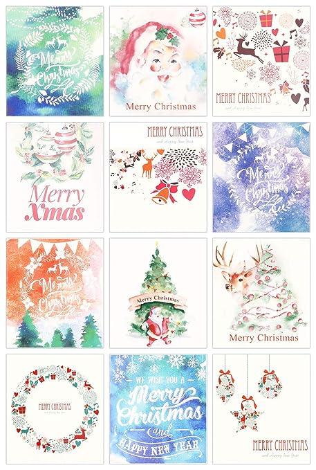 Amazon.com: Paquete de 24 mini tarjetas de felicitación ...