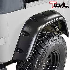 Omix-Ada 11602.01 Black Fender Flare 6 Piece Kit for 87-95 Jeep Wrangler