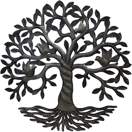 Vineworks Fair Trade Celtic Rooted Tree of Life Metal Art from Haiti 23″