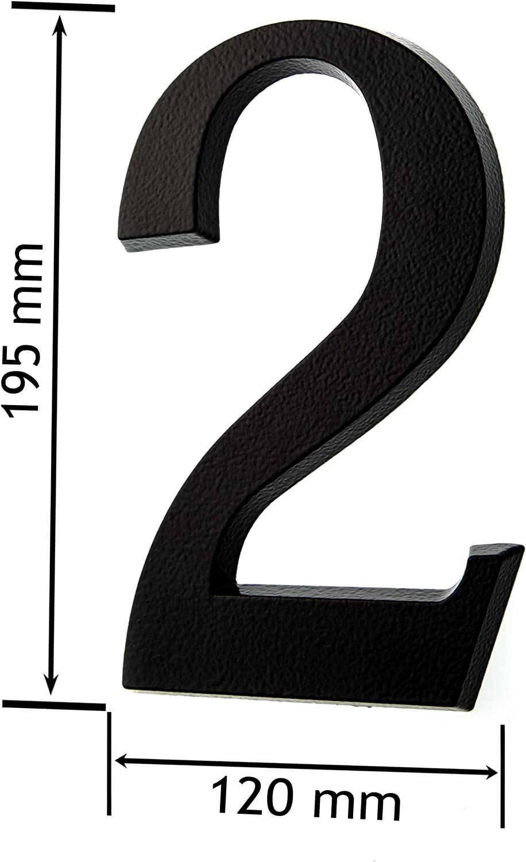 Huber color antracita//negro 20/cm tridimensional recubrimiento de polvo de aluminio N/úmero de puerta
