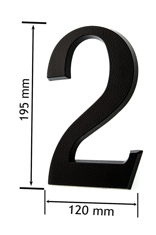 Huber recubrimiento de polvo de aluminio N/úmero de puerta tridimensional color antracita//negro 20/cm
