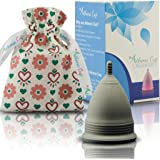 Athena Menstrual Cup - #1 Recommended Period Cup Includes Bonus Bag - Size 1, Solid Black - Leak Free Guaranteed!