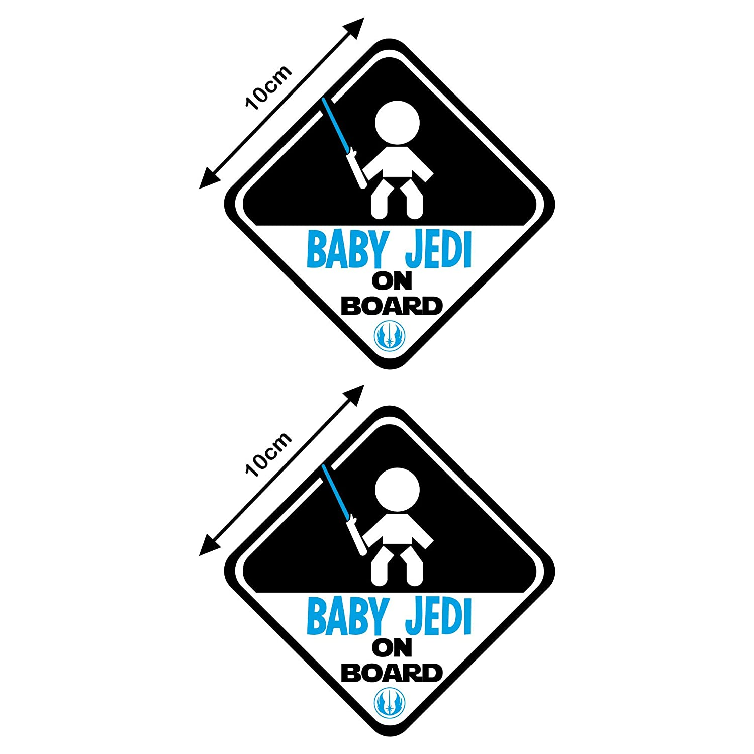 Autodomy Stickers Baby Jedi Child Star Wars Baby On Board Baby on Board Baby in Car Pack of 2 Units for Car (External Use) Uso Interno