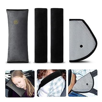 Almohadillas para Cinturón, synmixx 4Piezas Cojín de Coche los Niños Ajustable Dormir Comodo Proteccion Cinturones de Seguridad Almohadillas ...