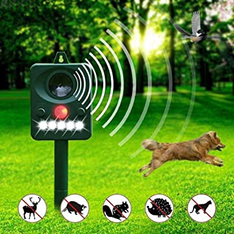 Global Solar Repelente animal ultrasónico Ave Perro Gato Repelente PIR Señal LED Luz estroboscópica para jardín
