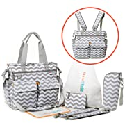 Diaper Bag Backpack with Changing Pad, Baby Bottle Insulator, Drawstring Bag, Wallet, and Detachable Straps – Can be Worn as Nappy Tote or Crossbody Messenger Bag – Unisex Design