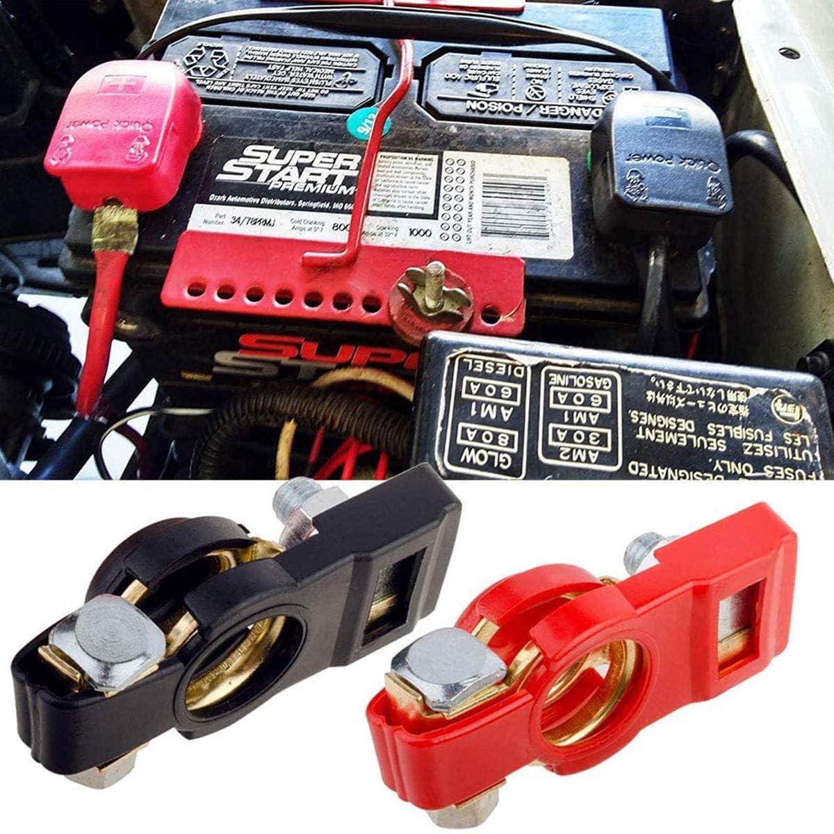 ZHITING 2 Pezzi Terminali di Batteria Connettori Morsetti Batteria a Sgancio Rapido Battery Terminal con 6 Anello in Rame per Auto Camion Barca