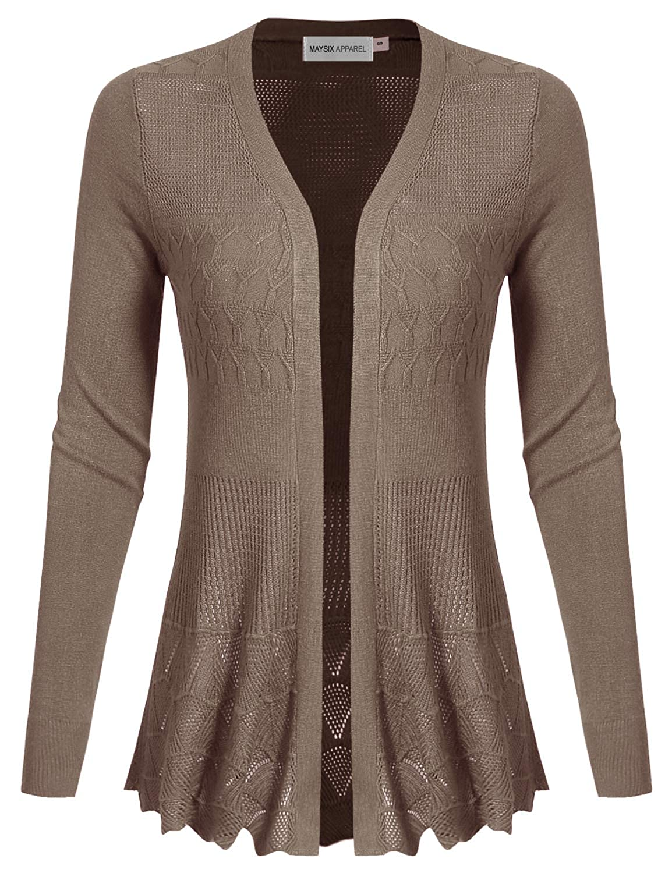 Msg5mocha MAYSIX APPAREL Long Sleeve Lightweight Crochet Knit Sweater Open Front Cardigan for Women (S2XL)